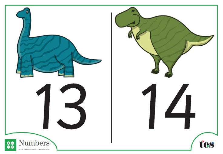 Number cards from 1-100 for display, with an engaging dinosaur theme