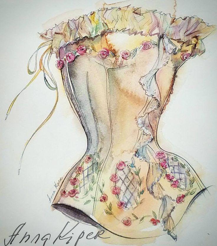 My watercolor illustration for Maggie Norris Couture. #annakiper #maggienorriscouture #fashion #dailylook #dailysketch #fasiongram #fashionista #sketchbook #watercolor #wedding #lace #bridal #drawadot #beautulbizarremagazine #corset #couture #fashiondesigner #fashionart  #fashionsketch #styleblogger #fashionblogger #fashionillustrator #art #design #fashiondesign #fashionweek #fashionillustration#мода #фэшн #дезайн