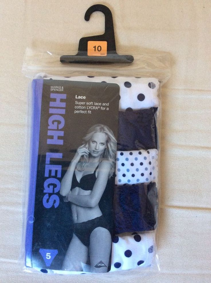 M&S 5 pack HIGH LEGSuper soft lace&Cotton LYCRA perfect fit UK10 BNIP RRP£12
