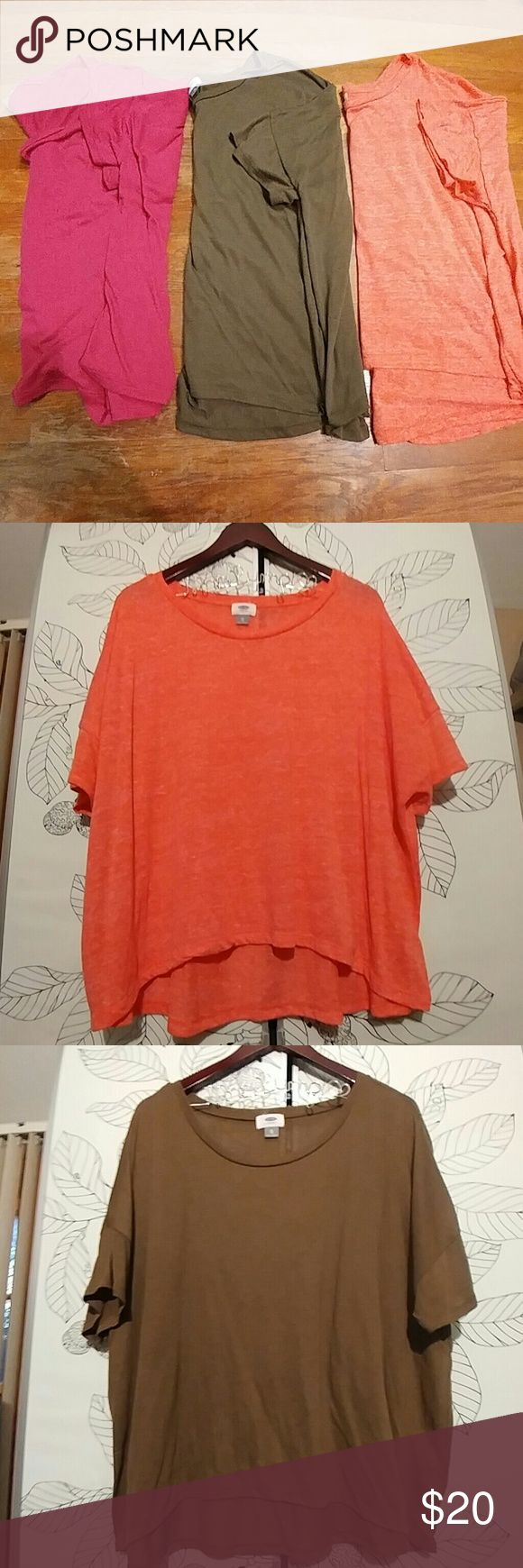 Old Navy short sleeve tops - 3 piece bundle! Old Navy short sleeve tops - 3 piece bundle! Size XL. Good condition, worn each a couple times. Bundle features one magenta top, one olive green too and one  salmon top. So soft and comfy! Old Navy Tops Tees - Short Sleeve