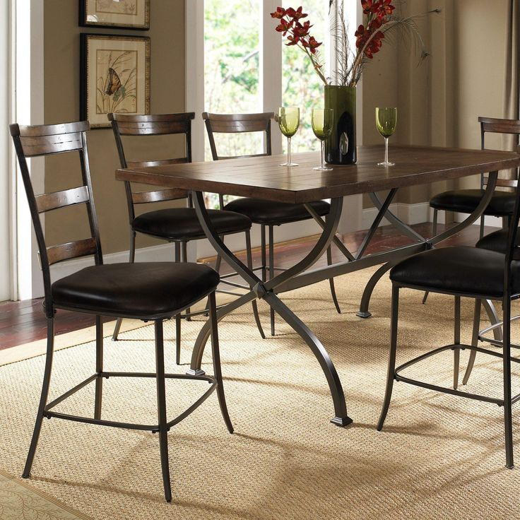 Hillsdale Cameron 7 Piece Counter Height Rectangle Wood Dining Table Set with Ladder Back Chairs | from hayneedle.com
