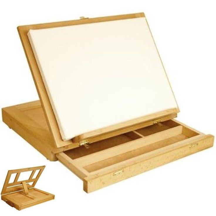 Artist Desk Wood Miniature Easel Painting Portable Drawing Art Drawer Table #UsArtSupply #ArtsCraftsDesk