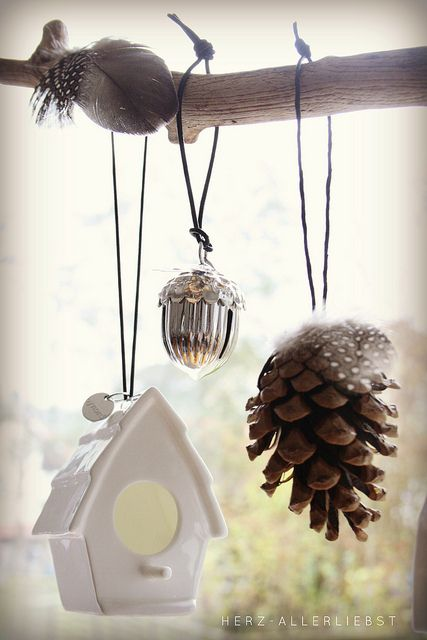 kerst decoratie-four of some of my favorite things, a birdhouse, feather, acorn, and a pinecone!