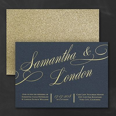 On the front: shimmer. On the back: glitter! Turn over the printed navy shimmer card and find a gold glitter backer card for a wedding invitation that dazzles.