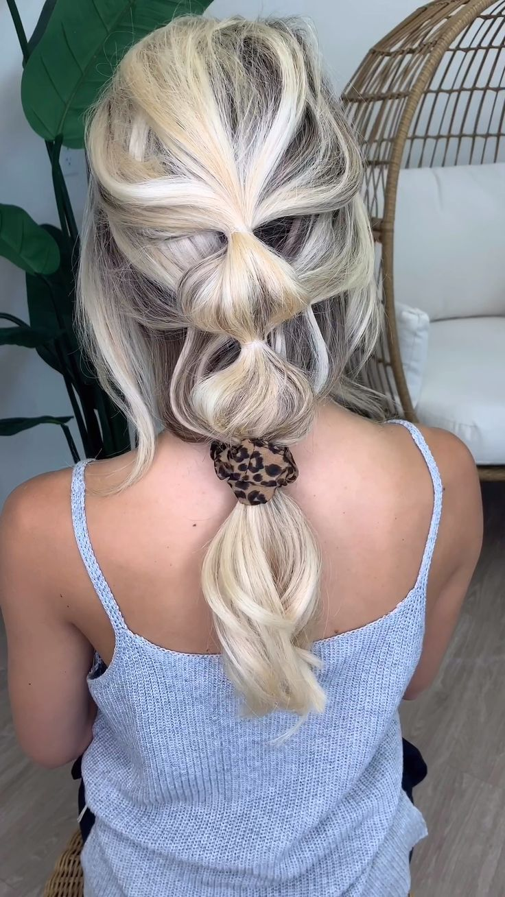 Easy Bubble Braid with Scrunchie