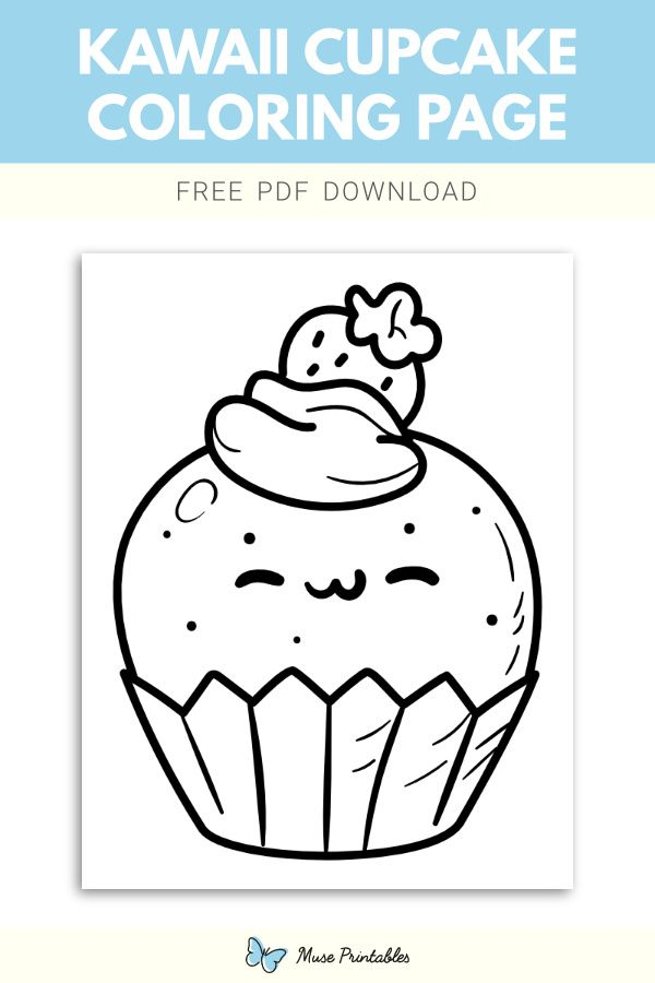 Free Kawaii Cupcake Coloring Page Cupcake Coloring Pages Coloring Pages Color