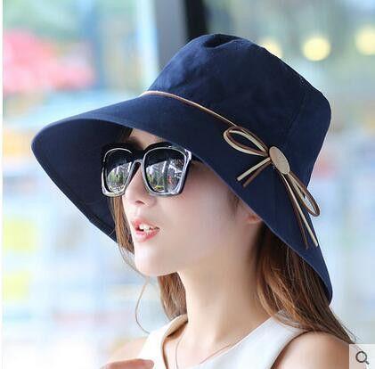 Fashion sun hats UV Foldable bucket Butterfly knot wide brim Floppy Summer hats for women Beach Cap Headwear