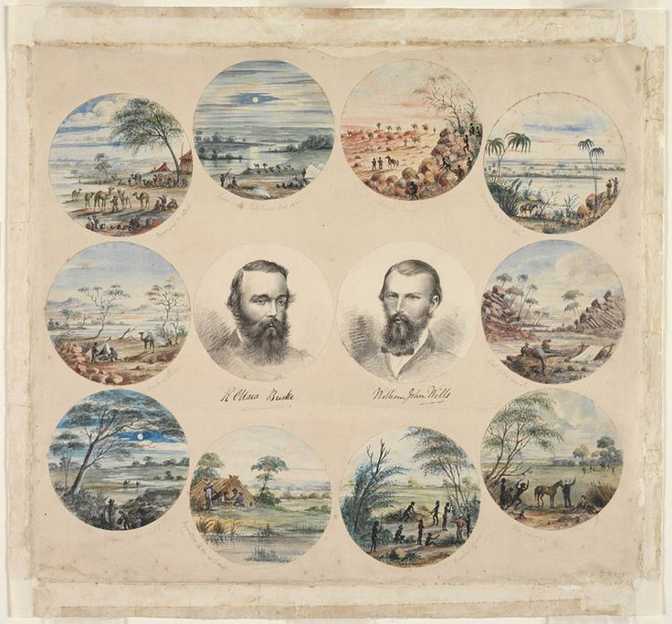 [Series of scenes depicting various incidents in the Burke and Wills expedition, with portraits of Burke and Wills]