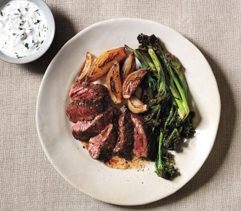 brown suede shoes with suit Skirt Steak With Roasted Shallots  Broccolini  and Horseradish Sauce