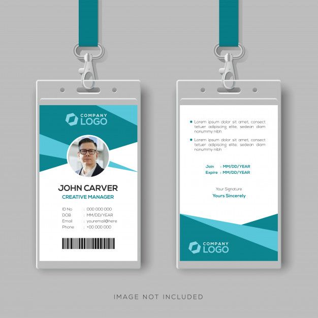 Abstract Cyan Id Card Design Template Id Card Template Identity Card Design Card Design