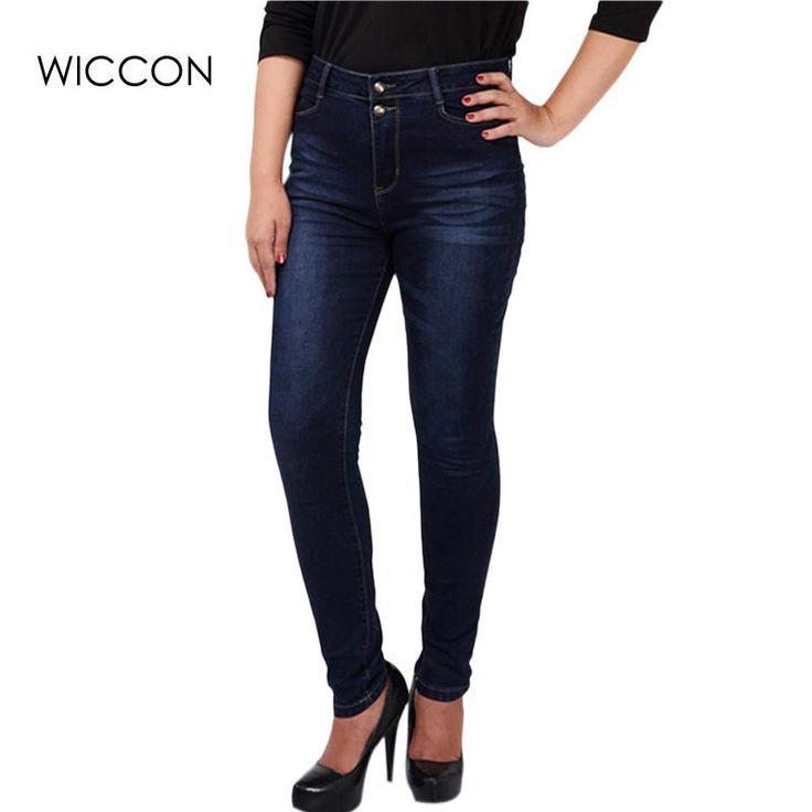 Big plus size women blue & black jeans L-5XL denim pants winter autumn wear full length fashion push up jeans trousers WICCON