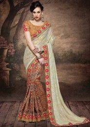 Wedding Wear Multi Colour Georgette Embroidered Work Saree