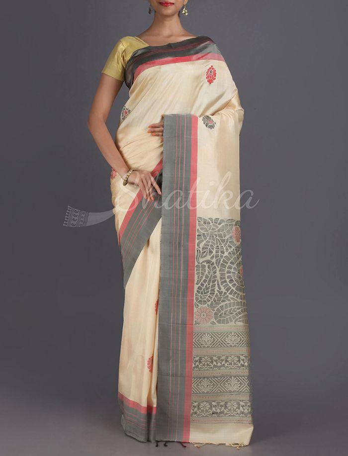 Kalyani Muted Dancing Paisleys Pure #PattuSilkSaree