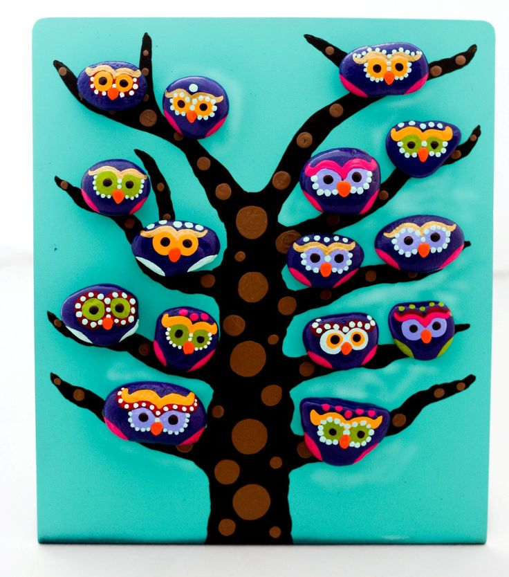 Pearl eyed Owls on a Spotted Tree - Hand Painted Stone Magnets on a Standing Interactive Painting