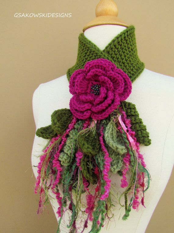 Magenta Flower Scarflette by gsakowskidesigns on Etsy.