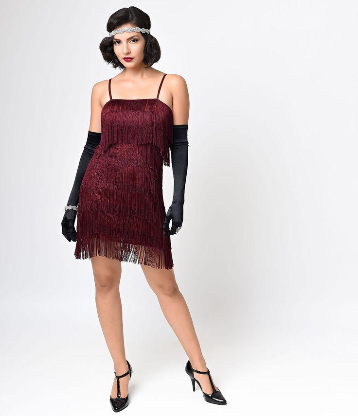 Iconic by UV Burgundy Speakeasy Tiered Fringe Flapper Dress $74.00 AT vintagedancer.com