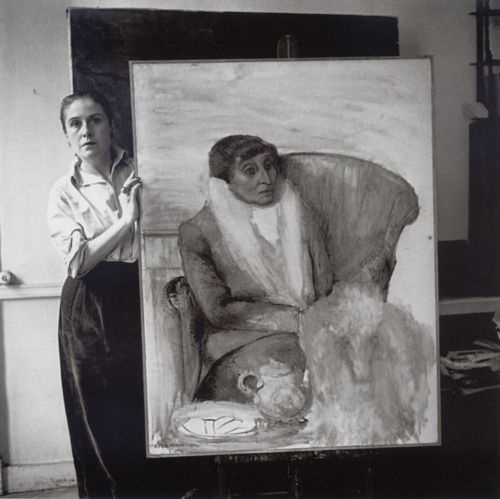 Dora Maar and her portrait of Alice B. Toklas with her inseparable dog, Paris. Photographed by Michel Sima, 1946.  (see the painting http://www.pinterest.com/pin/47217496067967532/ )