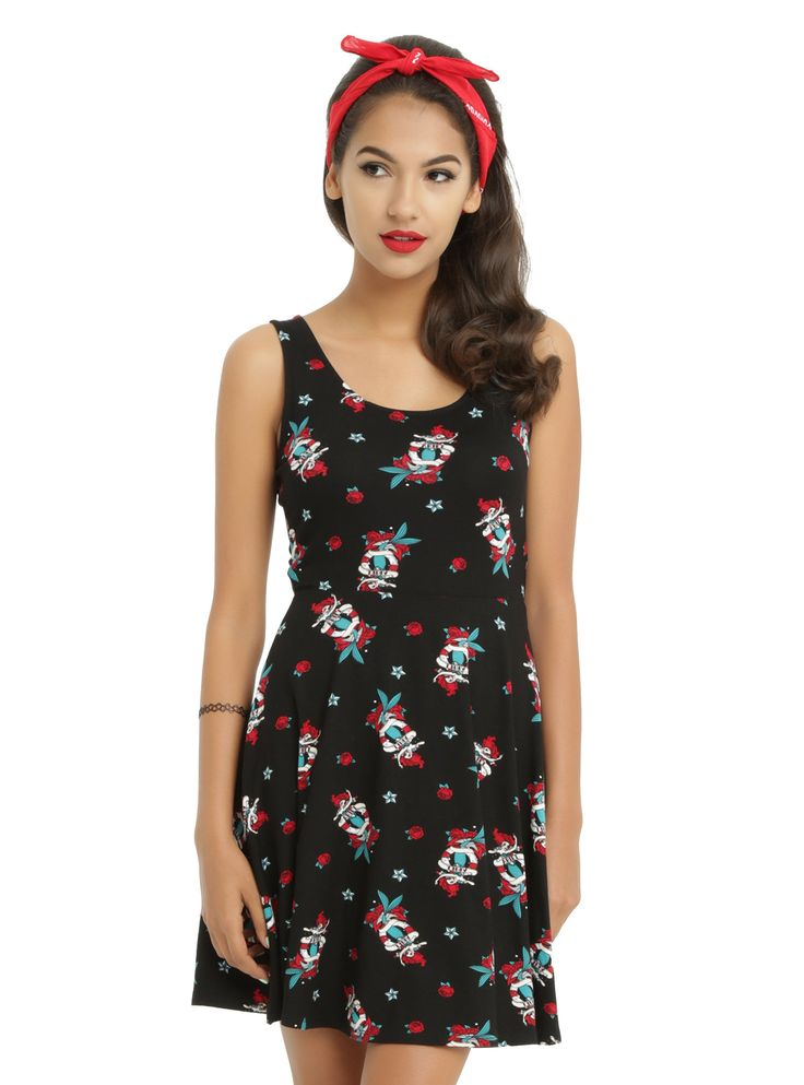 <p>If Prince Eric had a tattoo it would most definitely be of this artwork! Black skater bow back dress with traditional tattoo flash style artwork of Ariel from Disney's <i>The Little Mermaid</i>, nautical stars and roses. Sailors know: a mermaid is waiting for you in mysterious fathoms below...</p>  <ul> 	<li>94% rayon; 6% spandex</li> 	<li>Wash cold; dry flat&lt...