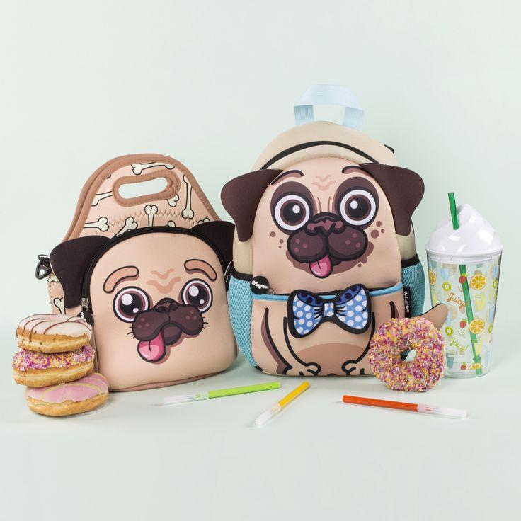 Cute Pug Set, Kids School Lunch Bag, Toddlers Backpack.