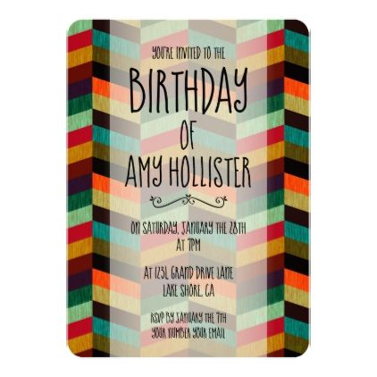 Herringbone Pattern Birthday Invitation - invitations custom unique diy personalize occasions