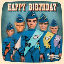 Official Thunderbirds birthday card in retro style. With Free UK Delivery from publishers at https://www.danilo.com/Shop/Cards-and-Wrap/Thunderbirds-Cards/Thunderbirds-Happy-Birthday-Card