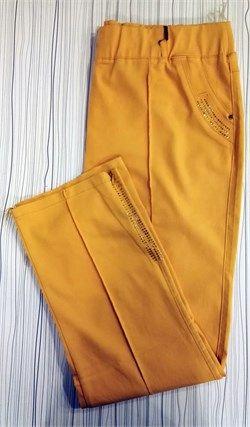 Büyük Beden Likralı Sarı Pantolon