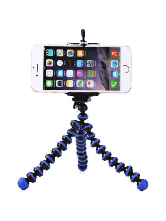 Flexible Mini Octopus Style Tripod Stand Holder for Mobile Phones - BLUE AND BLACK
