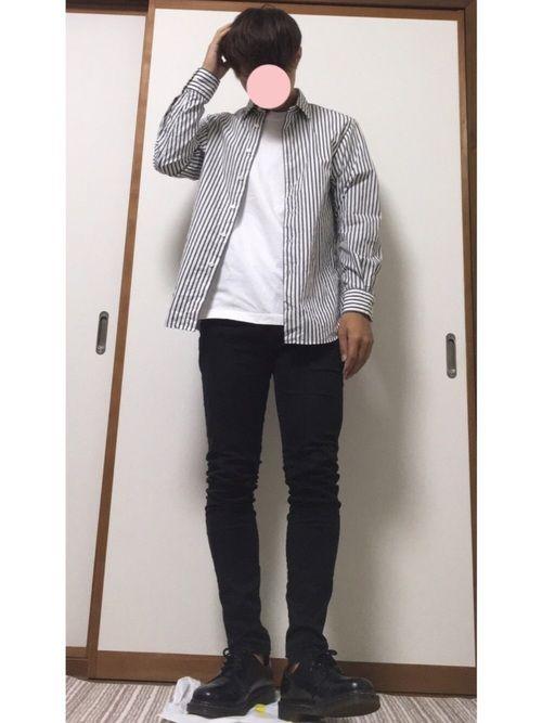 流行りのストライプシャツで😆 《サイズ》 Tシャツ L シャツ S パンツ 27インチ