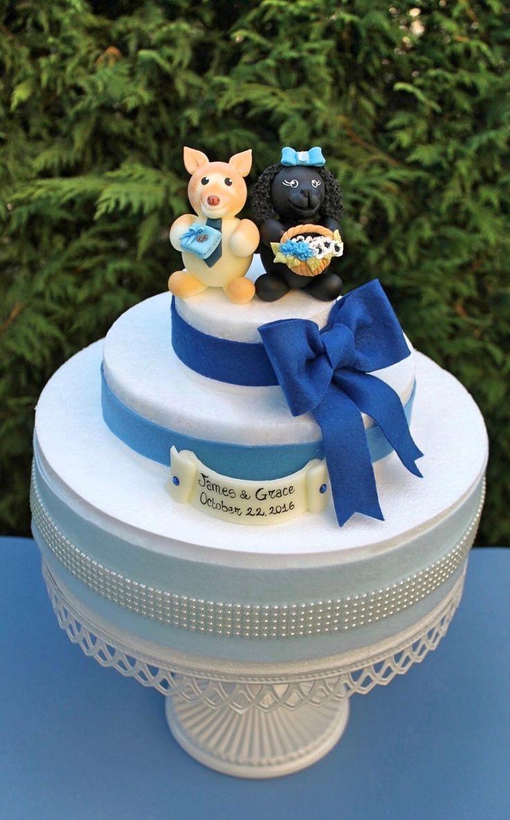 Dog wedding cake topper, dog make as ring bearer and dog female as flower girl https://www.etsy.com/listing/479924953/custom-wedding-dog-cake-topper-cake