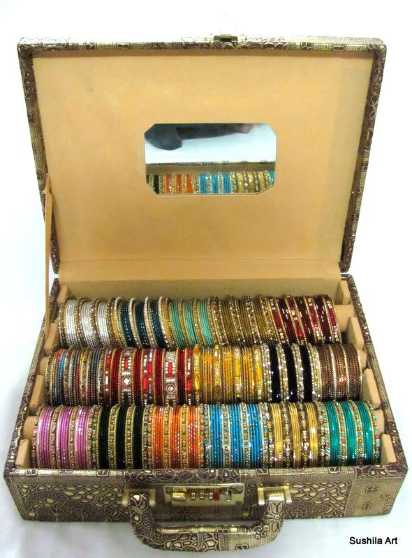 Indian Metal Sari Bangles Bracelet jewelry Storage Box