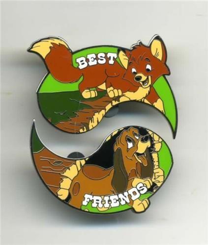 DISNEY PIN BEST FRIENDS TOD & COPPER FOX & THE HOUND 2 PIN SET - 11 Main