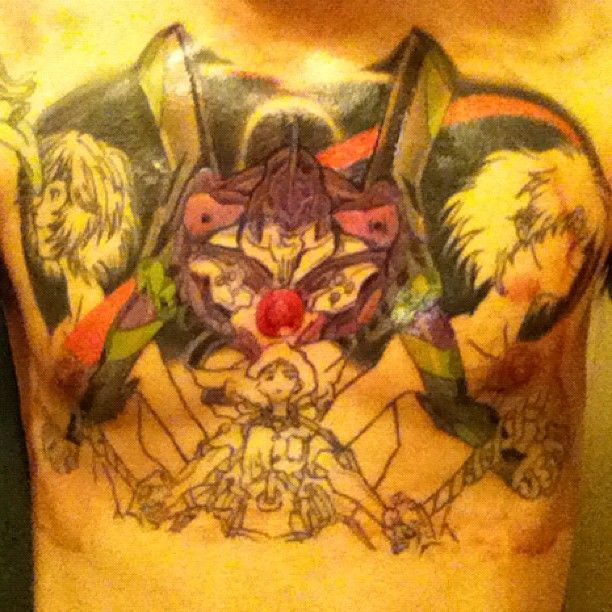 Excuse the blood, it's getting there. #manga #tattoo #nge #unit01 #shinji #bloodymess