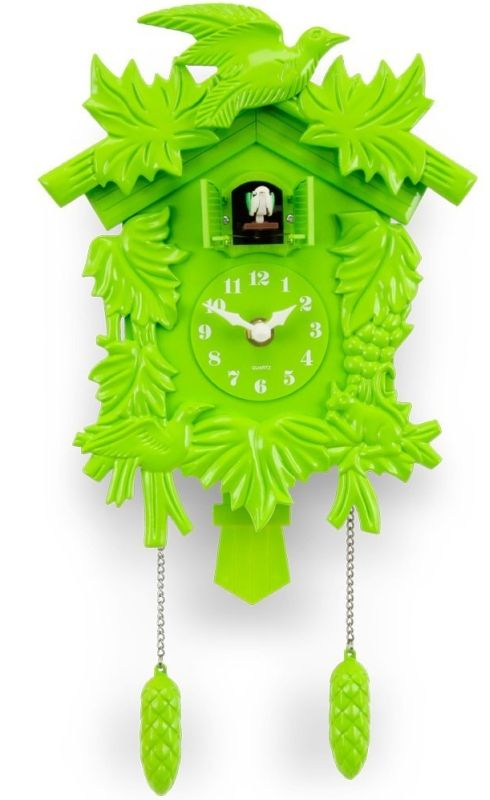 Lime Green Cuckoo Clock - sit next to: http://www.offsetwarehouse.com/green-raw-silk.html
