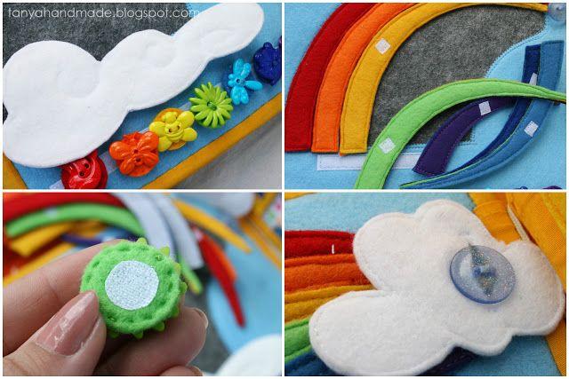 Rainbow detail Use cord to teether buttons for safety   Танины рукодельности: Книжка для маленькой девочки Калисты