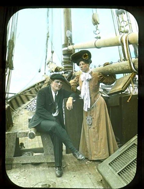 Jack and Charmian London in fancy dress aboard the Snark, on their way to adventure.