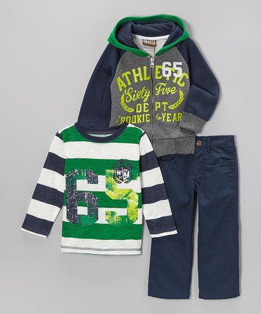 Loving this Blue & Gray Athletics Zip-Up Hoodie Set - Toddler on #zulily! #zulilyfinds