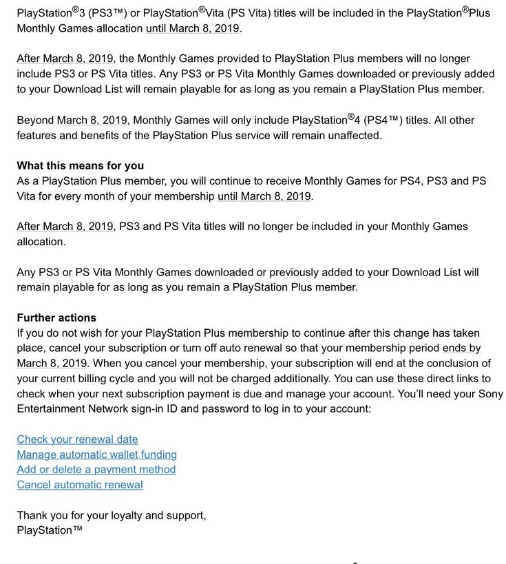 [Screenshot] Email from PlayStation. PS will no long provide games for PS3 and Vita. #Playstation4 #PS4 #Sony #videogames #playstation #gamer #games #gaming