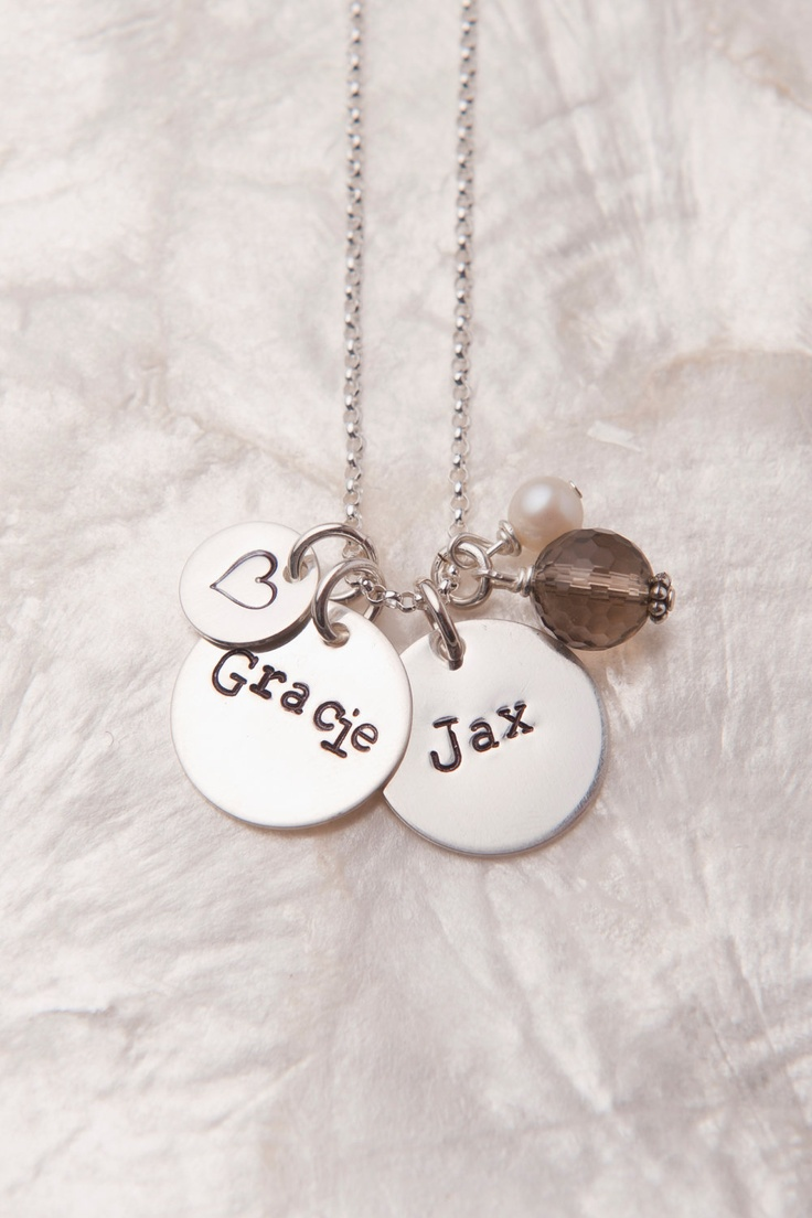 Two Name Custom Necklace, Personalized Mommy Necklace, Hand Stamped Silver Necklace, Adoption Gifts, Placement Gifts, Push Present. $45.00, via Etsy.