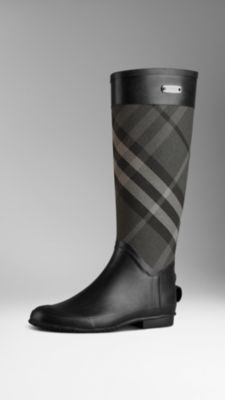 Burberry Rain Check Panel Rain Boots in Charcoal