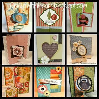 Cricut with Heart: CTMH Artiste Swing Cards...Examples of all nine shapes for the swing cards. Site also includes a great chart with info on where to find matching swing shapes (cart, page, cut size)...INVALUABLE!