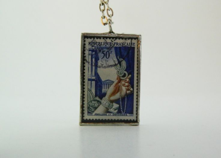 Vintage Postage Stamp French Necklace, Used Postage Stamps Art France - Handmade Soldered Glass Pendant by TheDuckandtheSesame on Etsy