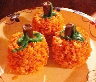Giveaways & Glitter: Rice Krispies Treats Pumpkins Recipe.