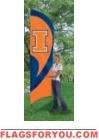 Illinois Fighting Illini Tall Team Flag 8.5' x 2.5'