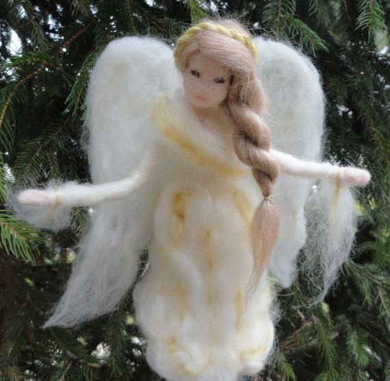 Needle Felted Angel Tree Topper Custom by ClaudiaMarieFelt on Etsy, $100.00