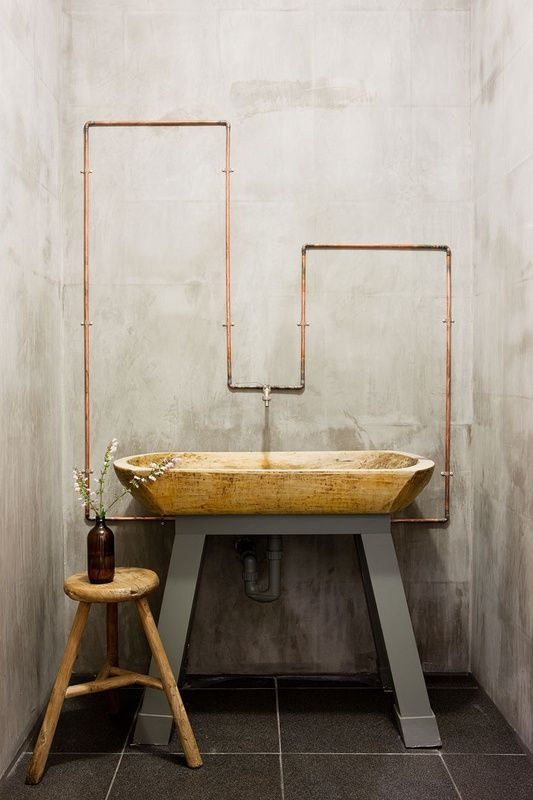 Exposed copper plumbing at vanity dupont renovation for Copper pipe shower