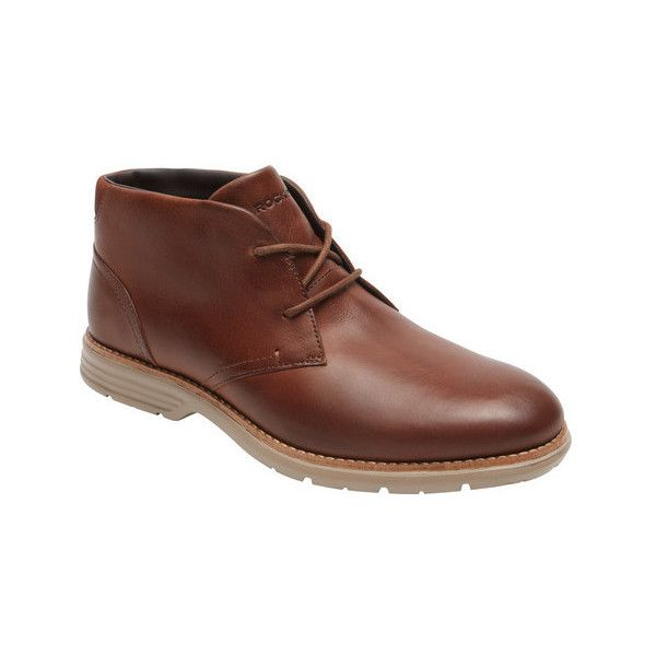 Men's Rockport Total Motion Chukka Boot ($150) ❤ liked on Polyvore featuring men's fashion, men's shoes, men's boots, brown, casual, leather boots, mens brown chukka boots, mens brown shoes, rockport men's boots and mens fur lined boots