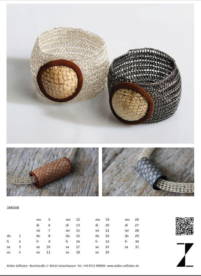 Kalenderblatt #Schmuckkalender 2015 Monat Januar www.atelier-zellhuber.de