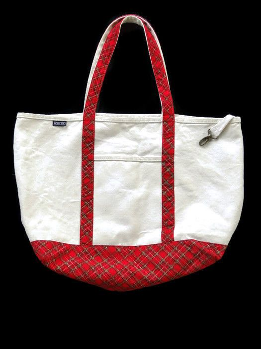 251a5500e Lands End Large Canvas Tote Bag Open Top Natural Red Plaid Made in USA 22 X  17 #LandsEnd #Tote