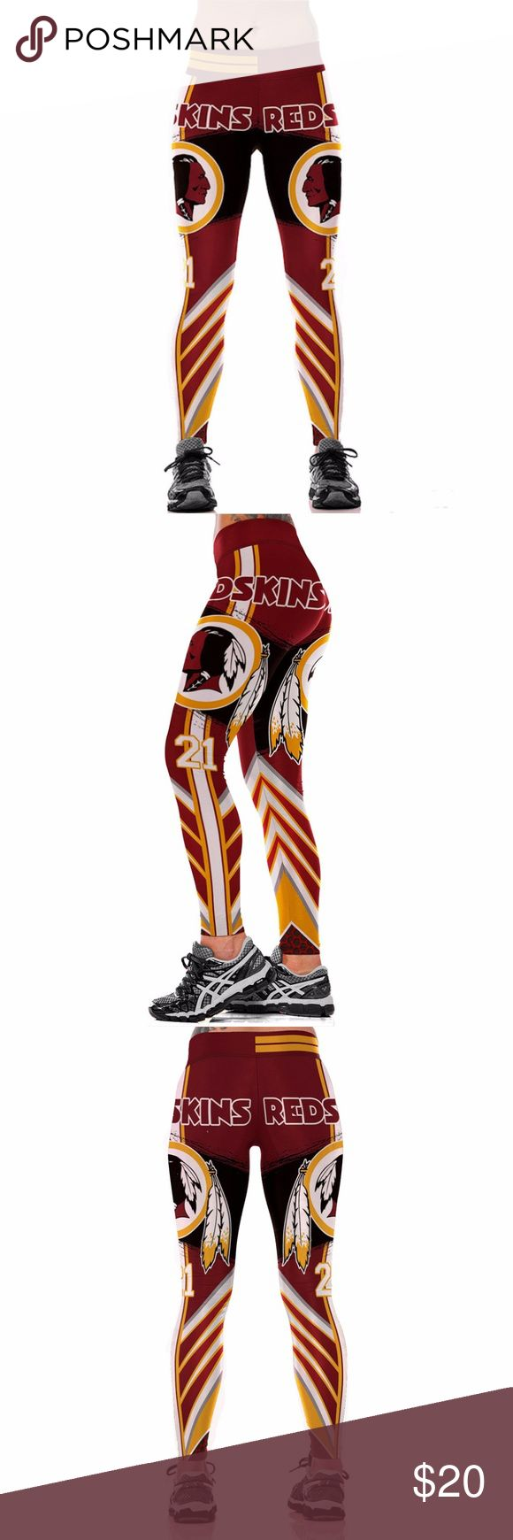 Washington Redskins Team Leggings Lightweight soft- quick dry breathable fabric Suitable for any kind of workout, gym, yoga, Zumba, cycling, etc. or casual wear High-quality construction with 6-thread double lock stitch seams Four-way Stretch Material: 82% Polyester, 18% Spandex Pants Leggings