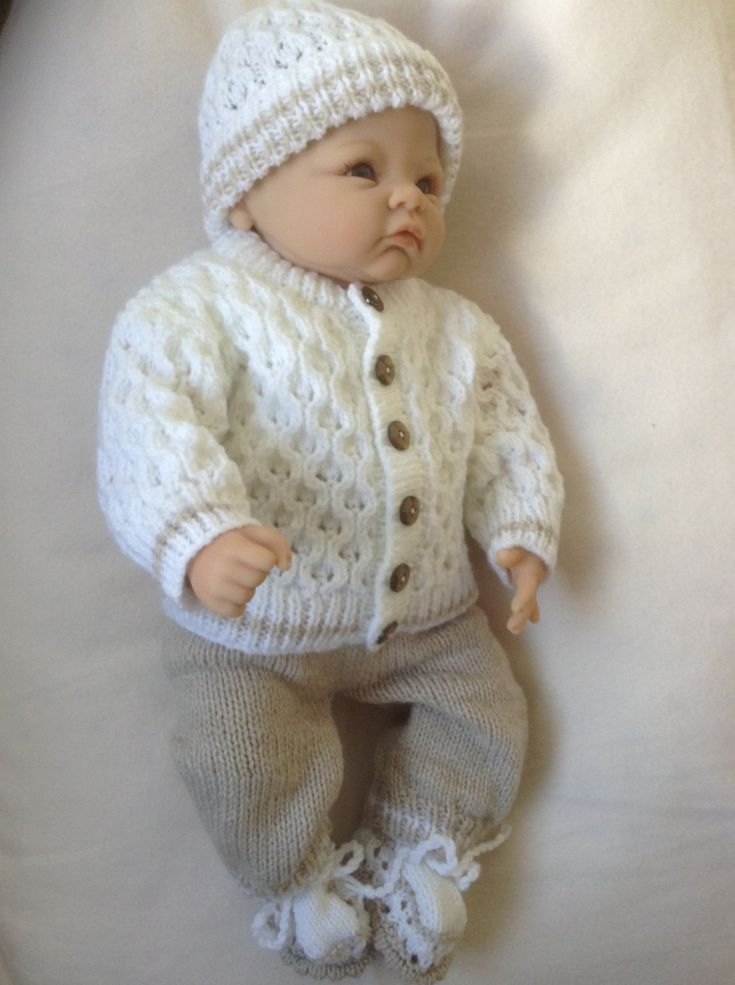 Newborn Baby Sweater Outfit or will fit a 18-20 inch Reborn Baby Doll in Beige and White Yarn Ready to Ship Now by Meganknits4charity on Etsy